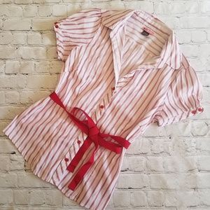 Max Rave Striped Button Down Blouse